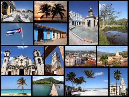Cuba photos collage - travel memories photo collection. Images of Havana, Trinidad, Santa Clara, Baracoa and Caribbean beaches.