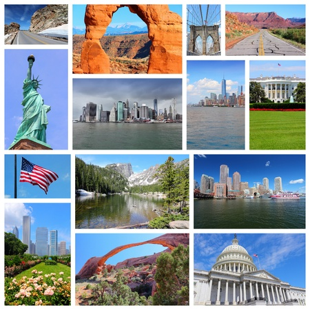 travel collage: United States photo collage. Collage includes major landmarks like New York City, Washington DC, Chicago, Boston, Rocky Mountains and Utah.