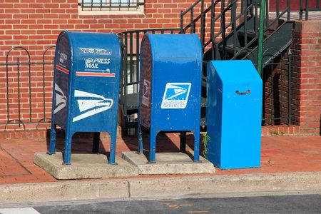 usps: WASHINGTON, USA - JUNE 14, 2013: United States Postal Service mail boxes in Washington DC. USPS employs 626,764 people.
