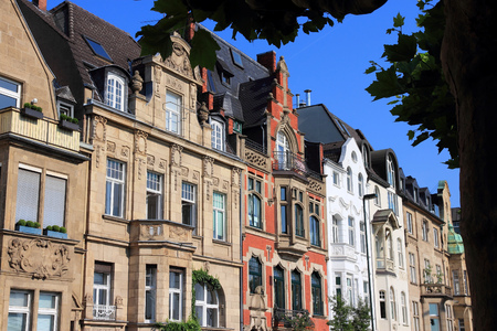 Dusseldorf, Germany. Old townhouses in Oberkassel area.