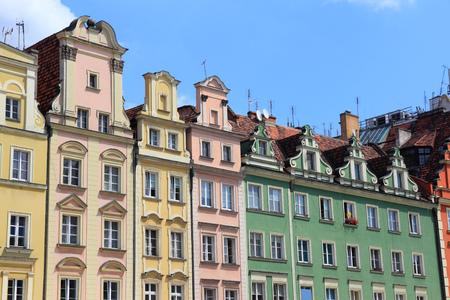 dolnoslaskie: Wroclaw, Poland - city architecture at Market Square (Rynek). Old Town architecture. Stock Photo
