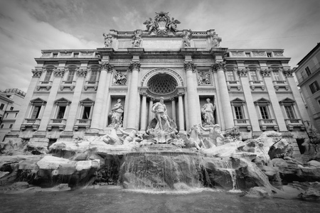 Trevi Fountain in Rome, Italy. Black and white retro style - monochrome color tone. photo