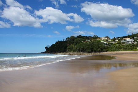 warm water: North Island, New Zealand - Hot Water Beach. Waikato region. Stockfoto