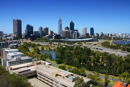 perth: Perth, Australia. City skyline view from Kings Park. Australian urban cityscape.