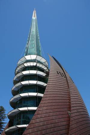 PERTH, AUSTRALIA - FEBRUARY 6, 2009: Swan Bells in Perth. Swan Bells is a copper and glass campanile with old bells donated from the UK in 1988.