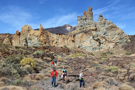 hectare: TENERIFE, SPAIN - OCTOBER 29, 2012: People hike in volcanic landscape of Teide National Park in Tenerife. The 18,990 hectare national park is listed as a UNESCO World Heritage Site.