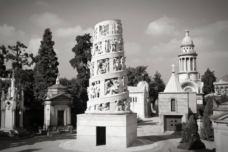 monumental cemetery: Milan, Italy. Old landmark - the Monumental Cemetery. Black and white tone.