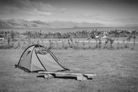 campground: Tent at a campground in Snaefellsnes peninsula, Iceland. Black and white monochrome tone. Stock Photo