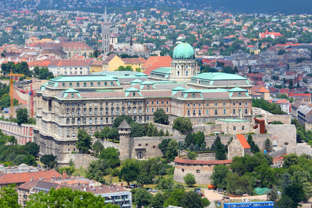buda: Budapest, Hungary - cityscape with Buda Castle. Old Town aerial view.
