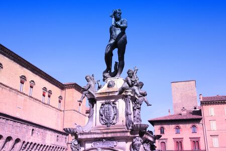 filtered: Bologna, Italy - Neptune fountain. Filtered style colors.