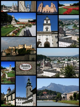 collage travel: Salzburg, Austria city photos collage - travel memories photo collection. Images of the cathedral, Hohensalzburg fortress and Old Town views. Editorial