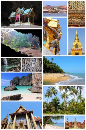 Travel photo collage from Thailand. Collage includes major landmarks like Bangkok, Ayutthaya, tropical beaches and Maya Bay.