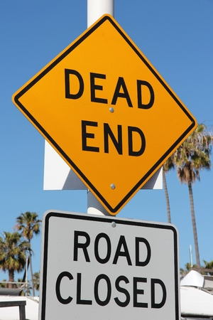 end of road: Dead end - road closed. Traffic warning sign.