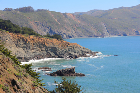 california coast: California coast - Golden Gate National Recreation Area in Marin County. Stock Photo