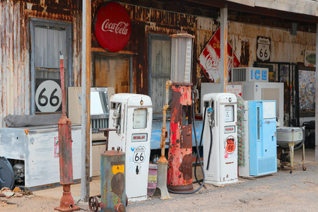 ARIZONA, USA - APRIL 2, 2014: Old gas station at U.S. Route 66 in Arizona. The famous road led from Chicago to Los Angeles and was 2,451 miles long.