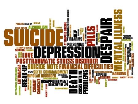 Zelfmoord en depressie kwesties en concepten woordwolk illustratie. Word collage concept.