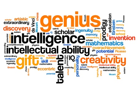 Genius issues and concepts word cloud illustration. Word collage concept. Stok Fotoğraf