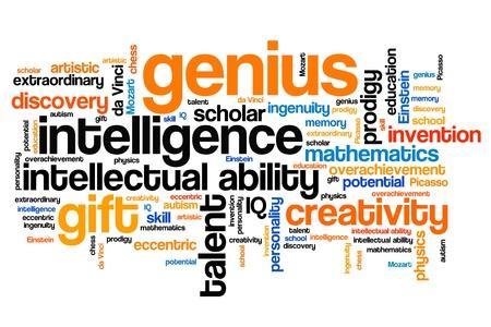 Prodigy: Genius zagadnienia i pojęcia słowo chmura ilustracji. Słowo Koncepcja kolażu.