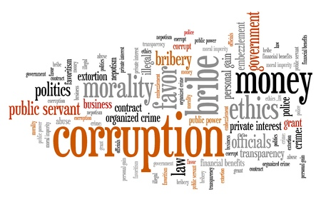 nepotism: Corruption crime issues and concepts tag cloud illustration. Word cloud collage concept. Stock Photo