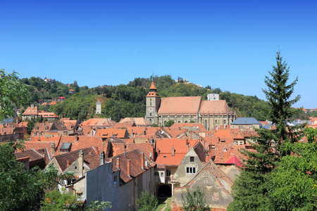 townscape: Brasov, Romania. Old Town in Transylvania. Townscape with the Black Church. Stock Photo