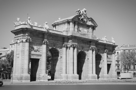 Puerta de Alcala in Madrid, Spain. Black and white tone. photo