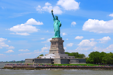 american city: Statue of Liberty in New York City, United States. Stock Photo