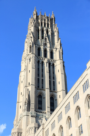 New York City, United States - inter-denominational Riverside Church in Morningside Heights neighborhood of Upper West Side.