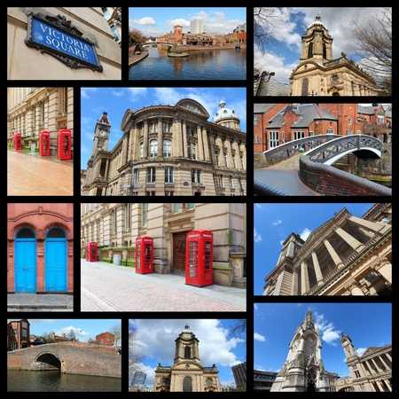 philips: Travel photo collage from Birmingham, UK. Collage includes major landmarks like Art Gallery, Saint Philips Cathedral and red telephone booths. Stock Photo