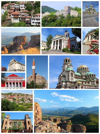 veliko: Bulgaria country photo collage. Travel photos set with Sofia, Ruse, Veliko Tarnovo, Vidin and Belogradchik.