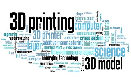 imprenta: 3D impresi�n - conceptos de tecnolog�a ilustraci�n nube de palabras. Collage de palabra.