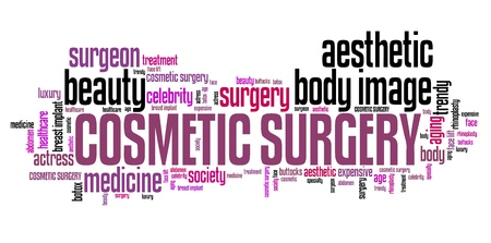 face surgery: Cosmetic surgery treatment - beauty improvement. Word cloud concept. Stock Photo