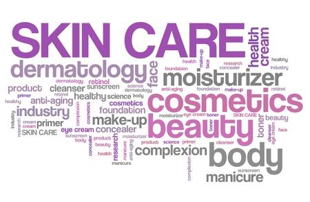 Hautpflege-Produkte - Beauty-Branche. Tag-Cloud-Konzept.