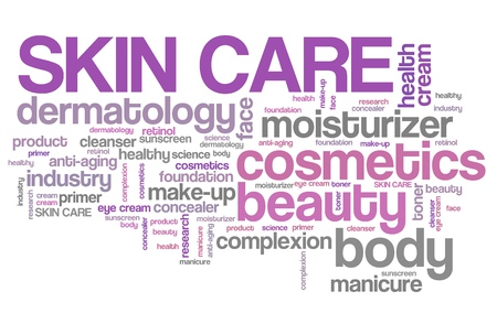 Productos para el cuidado de la piel - de la industria de la belleza. Concepto de la nube de etiquetas. Foto de archivo - 37568269
