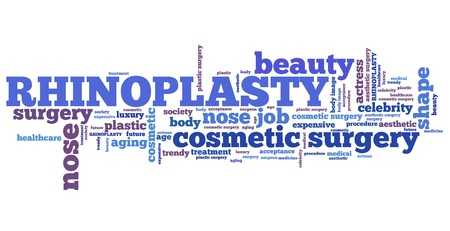 aesthetic: Rhinoplasty - nose job cosmetic surgery. Word cloud concept.
