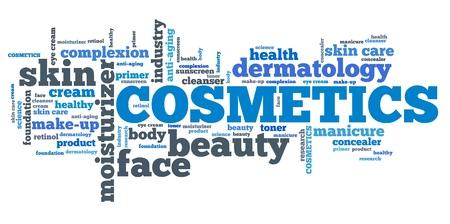 Cosmetische industrie - huidverzorgingsproducten. Tag cloud concept.