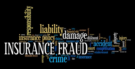Versicherungsbetrug - Finanzkriminalität. Word Cloud Konzept.