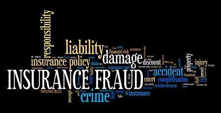 Insurance fraud - financial crime. Word cloud concept.