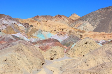 Death Valley in California, United States. Scenic view of famous Artists Palette in Death Valley National Park (Mojave Desert in Inyo County). It is an alluvial fan of Black Mountains. photo
