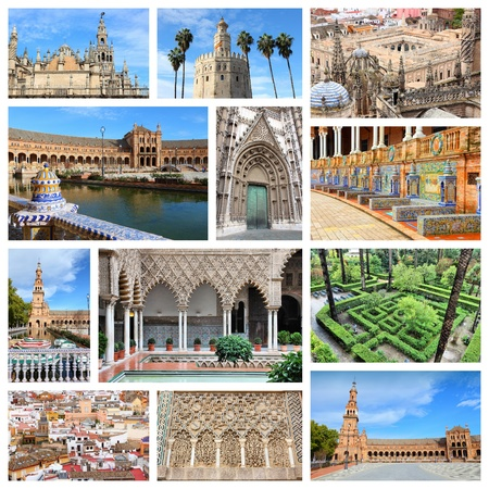 travel collage: Travel collage from Seville, Spain. Collage includes major landmarks like the cathedral and Plaza de Espana. Editorial