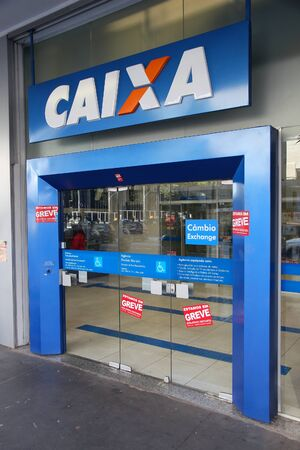 bank branch: SAO PAULO, BRAZIL - OCTOBER 6, 2014: Caixa Economica Federal Bank branch in Sao Paulo. Caixa is the 4th largest bank in Brazil by assets (some 630 billion USD in 2014).