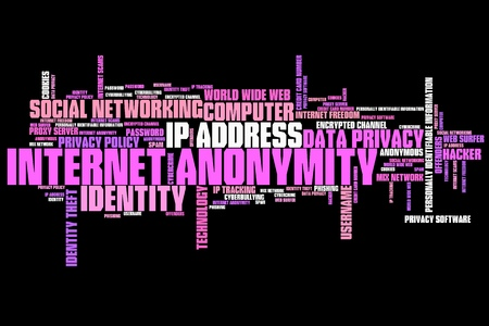 anonymity: Internet anonymity issues and concepts word cloud illustration. Word collage concept.