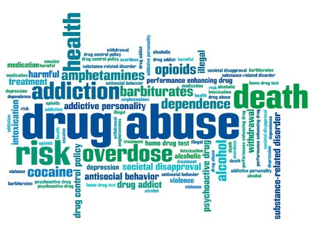 Drug abuse problem issues and concepts word cloud illustration. Word collage concept. Stock Photo