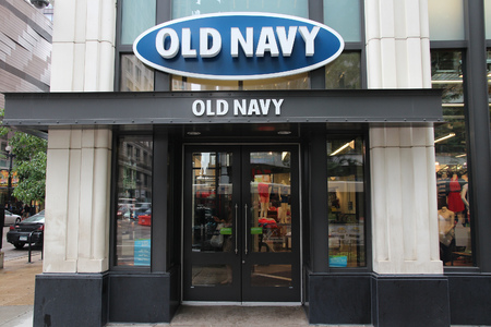 magnificent mile: CHICAGO, USA - JUNE 26, 2013: Old Navy clothes store at Magnificent Mile in Chicago. The Magnificent Mile is one of most prestigious shopping districts in the United States. Editorial