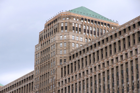 merchandise mart: CHICAGO, USA - JUNE 26, 2013: Merchandise Mart building exterior. It was largest building in the world at the time of completion (1930) with 4,000,000 square feet of area. Editorial