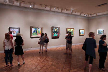CHICAGO, USA - JUNE 28, 2013: Visitors admire art at famous Art Institute of Chicago. It is the 2nd largest art museum in the US with 1 million square feet of area. Editorial