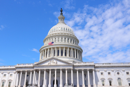 us government: Washington DC, United States landmark. National Capitol building with US flag.
