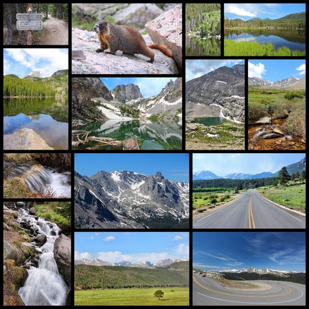 rocky mountain national park: United States - Rocky Mountain National Park photo collage. Colorado scenic views. Stock Photo