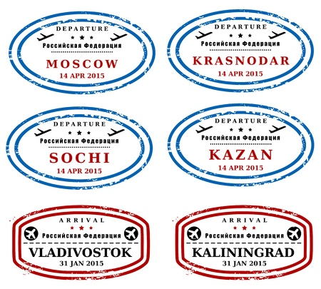 arrival: Travel stamps from Russia. Fictitious stamps (not real). Russian destinations: Moscow, Krasnodar, Sochi, Kazan, Vladivostok, Kaliningrad. Illustration
