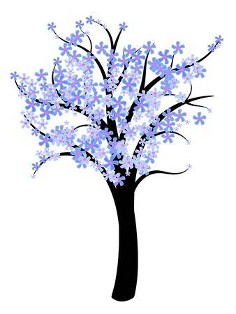 simplistic: Simple tree vector - natural symbol illustration. Spring tree with blue flowers. Illustration