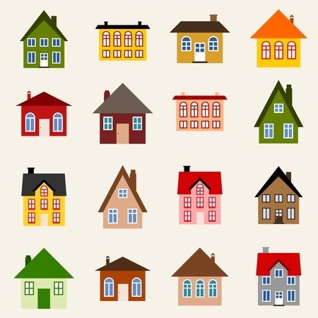 Home set - colorful house icon collection. Illustration group. Vector